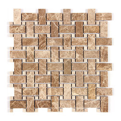 Stone & Co - Light Emperador and Crema Marfil Polished Marble Dot Marble Basketweave Mosaic - Finish: Polished