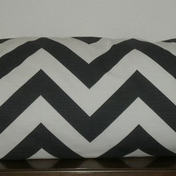 Pillow Covers #1 - Decorative Body Pillow Cover - 20 X 54 inch Charcoal Gray and White Chevron, invisible zipper.