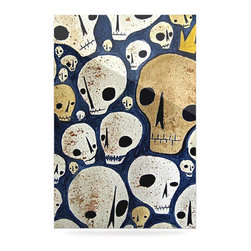 """Kess InHouse - Jaidyn Erickson """"Skulls"""" Metal Luxe Panel (16"""" x 20"""") - Our luxe KESS InHouse art panels are the perfect addition to your super fab living room, dining room, bedroom or bathroom. Heck, we have customers that have them in their sunrooms. These items are the art equivalent to flat screens. They offer a bright splash of color in a sleek and elegant way. They are available in square and rectangle sizes. Comes with a shadow mount for an even sleeker finish. By infusing the dyes of the artwork directly onto specially coated metal panels, the artwork is extremely durable and will showcase the exceptional detail. Use them together to make large art installations or showcase them individually. Our KESS InHouse Art Panels will jump off your walls. We can't wait to see what our interior design savvy clients will come up with next."""