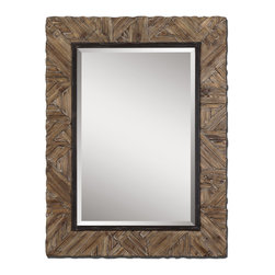 """Uttermost - Tehama Light Walnut Mirror, Wood Frame Finish, Antiqued Light Walnut, Small - Majestic In Height, This Mirror Features A Wood Frame Finished In Antiqued Light Walnut With Burnished Details. Mirror Features A Generous 1 1/4"""" Bevel. May Be Hung Either Horizontal Or Vertical."""