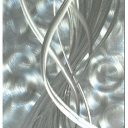 Pure Art - Silver Fantasy Handcrafted Metal Wall Art - Everything that glitters is…silver!  You will appreciate the sparkly excitement that this metal wall art will bring to your modern home.  The Silver Fantasy Handcrafted Metal Wall Art features abstract swirls, whirls, and bands that come together to create strong visual interest that will turn the head and pop the eye.  This stunning and very horizontally styled metal wall hanging is all silver for an awe-inspiring look that is stately and elegant while being dramatic and exciting at the same time.  Hang this in the den, living room, family room, foyer, or elsewhere that you want to make a bold style statement.Made with top grade aluminum material and handcrafted with the use of special colors, it is a very appealing piece that sticks out with its genuine glow. Easy to hang and clean.