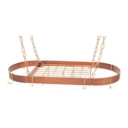 Rogar Medium Oval Pot Racks, Hammered Copper/Copper - Whether they're copper, silver or simple Ikea cookware, every pot looks better hanging from this rack.