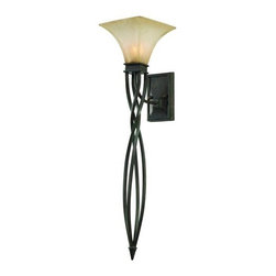 Golden Lighting - Golden Lighting 1850-WT1 Single Light Wallchiere Sconce from the Genesis Collect - *Requires 1 100w Medium Bulb (not included)Features 1 Evolution Glass Shade and a Roan Timber Finish with a Twisted Cylindrical Tail