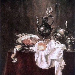 """Willem Claesz Heda Ham and Silverware - 16"""" x 20"""" Premium Archival Print - 16"""" x 20"""" Willem Claesz Heda Ham and Silverware premium archival print reproduced to meet museum quality standards. Our museum quality archival prints are produced using high-precision print technology for a more accurate reproduction printed on high quality, heavyweight matte presentation paper with fade-resistant, archival inks. Our progressive business model allows us to offer works of art to you at the best wholesale pricing, significantly less than art gallery prices, affordable to all. This line of artwork is produced with extra white border space (if you choose to have it framed, for your framer to work with to frame properly or utilize a larger mat and/or frame).  We present a comprehensive collection of exceptional art reproductions byWillem Claesz Heda."""