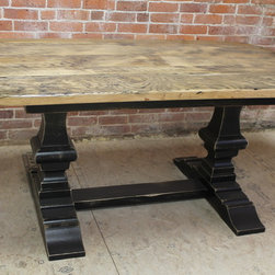 Very Rustic Trestle Table - Reclaimed Wood Tables are classic , family durable tables. These tables can be customized to look sleek or rustic but always are casually elegant. All sizes and colors possible. www.lakeandmountainhome.com. 978-505-3222