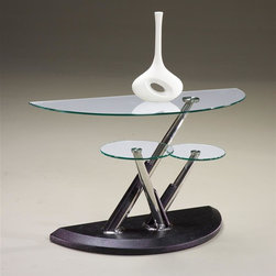 Magnussen Furniture - Demilune Sofa Table - Modesto - Modesto brings a new twist to contemporary with its fused glass tops, our cocktail even swivels creating a variety of form and functions. The tubular steel posts are wrapped in synthetic black leather. 50 in. W x 20 in. D x 29 in. H