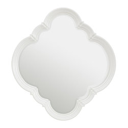 Stanley Furniture - Charleston Regency Quadrafoil Mirror - Ropemaker's White Finish - The beveled Quatrefoil mirror comes with four hangers, so it can be hung vertically or horizontally. This versatile mirror works well alone or in sets. Made to order in America.