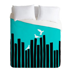 On the Fence Duvet Cover - Do you ever feel on the fence about something? Just can't make your mind up about about how to decorate? We've solved your problem. This cool, chic duvet cover will add a splash of color to your bedroom with hip graphic accents.