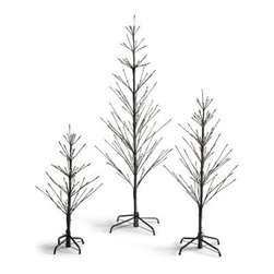 Grandin Road - Battery Operated Outdoor Twig Tree - 3' - Cordless outdoor twig trees with light effects. Each branch is posable and tipped with a bright-shining LED. Convenient, 6-hour timer function. Twinkle and steady light options. Each requires three AA batteries (not included). Put a designer spin on your Christmas curb appeal using our Battery-operated Outdoor Twig Trees, with light effects. The modern, minimalist design is a fantastic, 21st-century update to the traditional tree. What's more, convenient cordless operation and an eight-function light controller with timer make them a go-anywhere spectacle for all to see.  .  .  .  .  . Display twig trees anywhere indoors or out . Simple assembly.