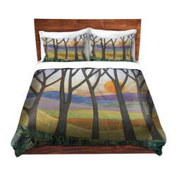 DiaNoche Designs - Duvet Cover Microfiber by Jennifer Baird - Sunset Over the Hills - DiaNoche Designs works with artists from around the world to bring unique, artistic products to decorate all aspects of your home.  Super lightweight and extremely soft Premium Microfiber Duvet Cover (only) in sizes Twin, Queen, King.  Shams NOT included.  This duvet is designed to wash upon arrival for maximum softness.   Each duvet starts by looming the fabric and cutting to the size ordered.  The Image is printed and your Duvet Cover is meticulously sewn together with ties in each corner and a hidden zip closure.  All in the USA!!  Poly microfiber top and underside.  Dye Sublimation printing permanently adheres the ink to the material for long life and durability.  Machine Washable cold with light detergent and dry on low.  Product may vary slightly from image.  Shams not included.
