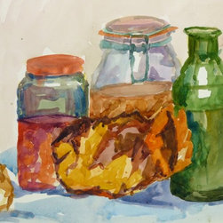 Jars and Bread Still Life - Original watercolor still life painting of colored glass jars and small bread rolls, 1983. Dated lower right.