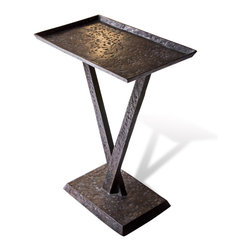Kathy Kuo Home - Wilton French Rustic Outdoor Antique Verdi Side Table - This metal side table is as versatile as it is handsome. Small enough to fit in cozy places, you can also use it indoors or out. Place it next to your couch, your outdoor chaise or even use it as a tray in front of the TV. The options are limitless.