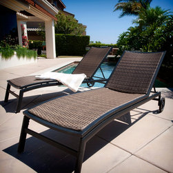 Zen™ 5 Way Adjustable Chaise Loungers - The Zen Chaise Lounges feature lightweight aluminum frames in a rich, bronze powder coated finish. A wide back and body rest with contoured woven insert provide a comfortable lounging area for taller adults, while the 5 way adjustable back rest allows you to select the perfect position for reading, sunbathing or just relaxing. Rolling back wheels allow you to easily move your Zen loungers around on your deck or patio. Comes as a 2pc set.