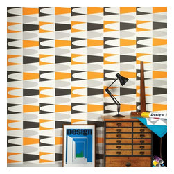 Graham & Brown - Carnival Wallpaper - Add a touch of mid-century, Palm Spring warmth to your walls with Carnival wallpaper from Hemingway Design, a contemporary graphic wallpaper design with a daring print of lozenge blocks in black, white and zesty orange.