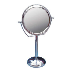 Renovators Supply - Mirrors Chrome Vanity Mirror Maginified Dbl-sided 14in. H - Mirror. This swiveling double-sided vanity mirror offers a magnified view on its reverse side. Traditional in design yet modern in function it suits any decor. Made of brass it is chrome-plated. Overall it measures 14 in. H x 6 1/2 in. dia. The base is 4 in. dia. and has a protective felt bottom.