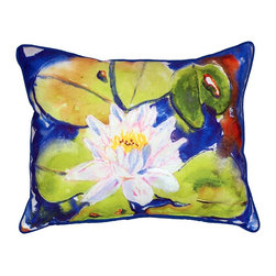 Betsy Drake Interiors - Betsy Drake Lily Pad Indoor/Outdoor Pillow - Use Indoors Or Out.  Looks Great On Your Garden Bench.  Brightens Up Any Room Or Patio.  Fade Resistant, Tough And Durable.  Spot Clean Or Machine Wash.