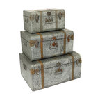 ecWorld - Diamond Galvanized Metal Decorative Trunk Cases and Storage Accent Decor - Add rugged polish to any room decor with galvanized storage. This strong metal trunks keep items organized and protected with a rustic character that is reminiscent of vintage industrial designs.