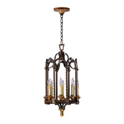 Kathy Kuo Home - San Giorgio Spanish Revival 8 Light Bronze Foyer Pendant - This iron work of this gothic revival entry light makes all the moves, twisting and curving it's way to perfection.  Eight wax effect candles are presented within arched sections while polished brass contrasts deliver a dash of decorative style.