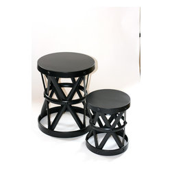 Filling Spaces - Metal Side Stool - Sleek and sculptural, this antique brass X-side stool has hammered nail accents and an intricately geometric base. This ultramodern, versatile piece can be used as small table, a stylish seat, or simply as an effortlessly decorative item for your decor.