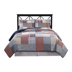 Pem America - Blue Plaid Patchwork King Quilt with 2 shams - Comfortable and casual, this quilt works in a variety of places from your master bedroom to a casual guest room to a high traffic dorm room.  The soft cotton plaids make this a great bed to build a whole room around. 1 King quilt 100x90 inches and 2 shams 20x26 inches. 60% Cotton / 40% polyester face.  100% Microfiber reverse. Filled with 94% cotton / 6% other fibers. Machine washable.
