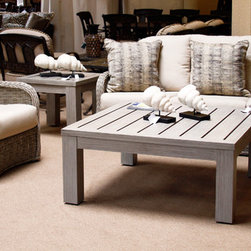Patioworld Exclusives! (Traditional) - Woven Wicker Outdoor Deep Seating Set (driftwood color scheme and nautical decor)