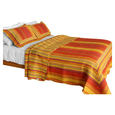 Blancho Bedding - The Setting Sun Cotton 3PC Vermicelli-Quilted Patchwork Quilt Set  Full/Queen - Set includes a quilt and two quilted shams. Shell and fill are cotton. For convenience, all bedding components are machine washable on cold in the gentle cycle and can be dried on low heat and will last you years. Intricate vermicelli quilting provides a rich surface texture. This vermicelli-quilted quilt set will refresh your bedroom decor instantly, create a cozy and inviting atmosphere and is sure to transform the look of your bedroom or guest room. Dimensions: Full/Queen quilt: 90 inches x 98 inches. Standard sham: 20 inches x 26 inches.