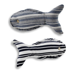 Zeckos - Pair of 15 In. x 6 In. Striped Fish Shaped Accent Pillows - This pair of accent pillows adds a finishing touch to beach themed rooms. Measuring 10 inches tall, 10 inches wide, they are shaped like fish, have button eyes and striped prints. The pillows are made of 100% polyester, including the stuffing, and recommended care instructions are to spot clean, only. These pillows look great on beds, chairs, and couches, and they are sure to be admired.