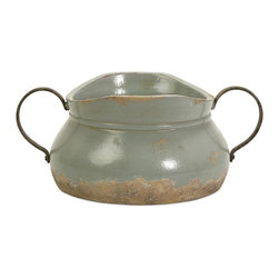 IMAX Worldwide Home - Calista Short Bowl - Material: 97% Red Clay, 3% Sand. 6 in. H x 14 in. W x 10 in. D. Weight: 8.8 lbs.A pale aqua rustic full bodied ceramic bowl has a natural quality like a handmade collectible piece from ancient civilizations. This piece is highly versatile and well suited for a variety of decor.