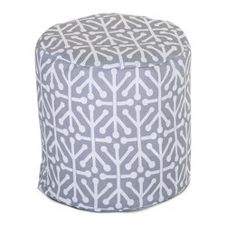 Majestic Home - Outdoor Gray Aruba Small Pouf - Add comfort and flare to any room with Majestic Home Goods Indoor/Outdoor Small Pouf Ottomans. These small poufs can be used as a foot stool, side table or as extra seating in your home or backyard. The beanbag inserts are eco-friendly by using up to 50% recycled polystyrene beads. The removable zippered slipcovers are woven from Outdoor Treated polyester with up to 1000 hours of U.V. protection, and are machine-washable.