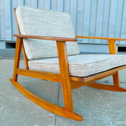 Mid Century Mobler: Past Collections - Mid century modern rocking chair is crafted in stained oak.