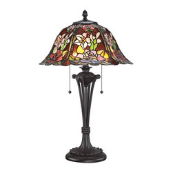"Quoizel - Tiffany Quoizel Park Rose Tiffany Style Table Lamp - Bring the classic majesty of Tiffany lighting into your home with pretty art glass table lamp. The round floral pattern scalloped shade is composed of individual pieces of stained glass expertly arranged in soft wildflower tones. A stylized Western Bronze finish metal base enhances the authenticity of this iconic home accent. Two lights are controlled by dual pull chains. This elegant Quoizel lamp will warm your home with its enduring glow. Floral art glass table lamp. Western Bronze finish. Metal construction. Multicolor art glass shade. Shade constructed of 546 pieces of stained glass. Two max 60 watt bulbs (not included). 25"" high Shade is 16 1/2"" wide.   Floral art glass table lamp.  Western Bronze finish.  Metal construction.  Multicolor art glass shade.  Shade constructed of 546 pieces of stained glass.  Two max 60 watt bulbs (not included).  25"" high  Shade is 16 1/2"" wide."