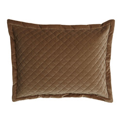 """Horchow - King Quilted Velvet Sham - TOFFEE TAUPE - King Quilted Velvet ShamDetailsMade of polyester/cotton.Dry clean.20"""" x 36"""".Made in the USA."""
