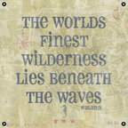One Red Buffalo - Wyland Quote II - The perfect wall decor with nautical character to show your passion for the sea. This print is complete with subtle seafaring elements on a weathered looking canvas background and an inspirational quote by the artist Wyland. It is finished off with nautical inspired grommets in all four corners.
