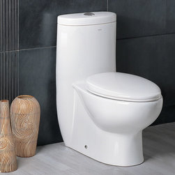 "Atlas International Inc - Dual Flush Toilet - Ariel Platinum Contemporary One Piece ""Hermes"" (White) - Modern Eco-Friendly One Piece White toilet. Ariel cutting-edge designed one-piece toilets with powerful flushing system. It's a beautiful, modern toilet for your contemporary bathroom remodel."