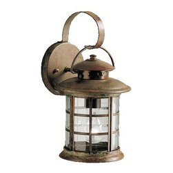 KICHLER - KICHLER Rustic Transitional Outdoor Wall Sconce X-TSR0679 - This Kichler Lighting outdoor wall sconce features a stylish lantern shape complimented by clean lines and curves with subtle maritime inspired details. The shape is accentuated by a unique but stylish Rustic finish and the look is pulled together with clear beveled glass panels. U.L. listed for wet locations.