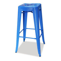 """sugarSCOUT - Custom Painted Tolix Style 24"""" & 30"""" Counter or Bar Stools, Blue, 24"""" - Go bright....go colorful."""