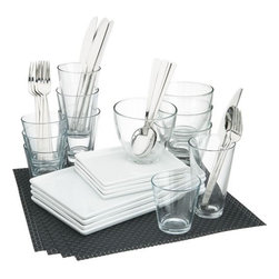 4-top cuatro carbon dinner set - less is minimal.- Medium-sized white porcelain platter is dishwasher-, microwave- and conventional oven-safe- Clear glass bowls are made in Italy; dishwasher- and microwave-safe- Made in China- See dimensions below