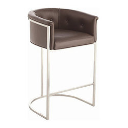 Arteriors Home - Arteriors Home Calvin Leather/Polished Nickel Barstool - Arteriors Home 6486 - If you invite guests to pull up a seat and they pull up this one, they may never go home. It's much more than a barstool, it's an easy chair on steroids. The leather upholstery is stylish and elegant. The low back and curved box-style seating supports and cushions your body. Elevate your decor while you elevate your body.