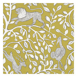 Yellow Modern Animal Motif Fabric - Sketched African animal & vine motif in modern mustard yellow. Be wild & wonderul!Recover your chair. Upholster a wall. Create a framed piece of art. Sew your own home accent. Whatever your decorating project, Loom's gorgeous, designer fabrics by the yard are up to the challenge!