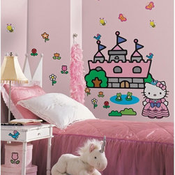 RoomMates - Hello Kitty Princess Castle Giant Appliques - RMK1200GM - Shop for Wall Decorations from Hayneedle.com! For royal damsels in need of a little help decorating their chambers this collection of removable wall stickers featuring Hello Kitty in royal garments is right on the money. Varying sizes create the appearance of depth on your wall and assorted flowers and wildlife add a harmonious element perfect for the little lady's room. Since the stickers are completely removable it's easy to change up the appearance without concern for damaging walls furniture or the stickers themselves. Reuse them again and again without any loss of performance.These stickers will work on just about any surface but take care with wallpaper or some delicate surfaces. If in doubt test in an inconspicuous place prior to applying all the stickers. Also wait 10 to 15 days after painting before using stickers. Though the paint feels dry it needs adequate time to cure. As with any adhesive product these will work much better on clean surfaces free of dust and the like. Specifically they will work well on surfaces including but not limited to walls mirrors your fridge laptop covers tile glass lockers furniture and automotive surfaces.Please note this product does not ship to Pennsylvania.