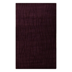 Surya - Transitional Wave 2'x3' Rectangle Prune Purple Area Rug - The Wave area rug Collection offers an affordable assortment of Transitional stylings. Wave features a blend of natural Prune Purple color. Handmade of 50% Acrylic - 50% Wool the Wave Collection is an intriguing compliment to any decor.