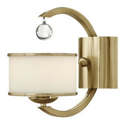 Hinkley Lighting - 4850BC Monaco Wall Sconce, Brushed Caramel, Etched Opal Metal Trimmed Glass - Transitional Wall Sconce in Brushed Caramel with Etched Opal Metal Trimmed glass from the Monaco Collection by Hinkley Lighting.