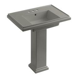 """KOHLER - KOHLER K-2845-4-K4 Tresham 30"""" Pedestal Lavatory w/ 4"""" Centerset Faucet Drilling - KOHLER K-2845-4-K4 Tresham 30"""" pedestal lavatory with 4"""" centerset faucet drilling in Cashmere"""