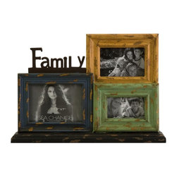 Imax Worldwide Home - Family Frame Collage - Special design created to keep the cherished photographs together in one setting. Unique display shows a distressed and beautiful color. Made from MDF and iron. No assembly required. 18.75 in. W x 3.5 in. D x 13.5 in. H