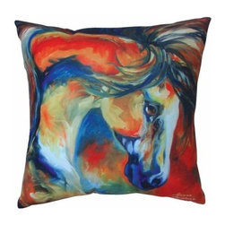"""WL - 16 x 16"""" White Mustang Theme Couch Sofa Pillow with Wild Horse Design - This gorgeous 16 x 16"""" White Mustang Theme Couch Sofa Pillow with Wild Horse Design has the finest details and highest quality you will find anywhere! 16 x 16"""" White Mustang Theme Couch Sofa Pillow with Wild Horse Design is truly remarkable."""