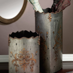Iron and Pewter Finish Umbrella Stand - Mixed-metal tones lend a touch of faded glory to the Iron and Pewter Finish Umbrella Stand, a tall, softly triangular vessel perfect for adding an edge of the aristocracy to any home where tradition holds power.� Invoke the grandeur of old-world style in an entryway or bring the glamor of an antique dressing room to your walk-in closet with this exquisite floral stand, which has a graceful scalloped edge.