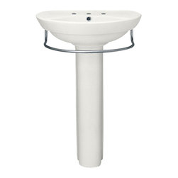 "American Standard - American Standard 0268.800.020 Ravenna Pedestal Sink, White - American Standard 0268.800.020 Ravenna Pedestal Sink, White. This pedestal sink set features a contemporary design with a vitrous china construction, a rear overflow, a faucet ledge with generous shelf area, and comes supplied with a mounting kit for easy installation. This model comes with 8"" centered faucet mounting holes, and it measures 24-1/4"" by 20"", with a 6"" bowl depth, and it stands 34"" from the floor to the top of the sink."