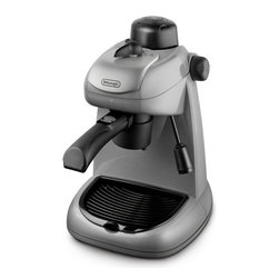 DeLonghi - 4 Cup Espresso Cappuccino Maker with Vario System, 4 Cup - DeLonghi's EC6 Steam Espresso and Cappuccino Maker with a 2-cup adaptor, allows you to make two espresso's simultaneously. Brew up to 4 cups with the included 8.5-Ounce Heat-Resistant glass carafe. Use the vario system to select your desired coffee strength and aroma from strong to light. The swivel jet frother mixes steam, air and milk to produce a rich, creamy froth for authentic Italian cappuccino and latte. This steam driven machine also features a patented safety cap which is steam-Pressurized to ensure safe operation. Steam-driven machine creates espresso, cappuccino and latte.