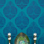 Medium Annapakshi Indian Damask Wall Stencil - Annapakshi Indian Damask Wall Stencil Medium from Royal Design Studio for walls, furniture, ceiling, floor, and fabric.