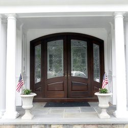 Arched Top Double Entry Door with Sidelights - Mahogany wood double entry door unit features arched top on door and sidelights.  Hand crafted in Hershey, PA for Woodcrest home builders.